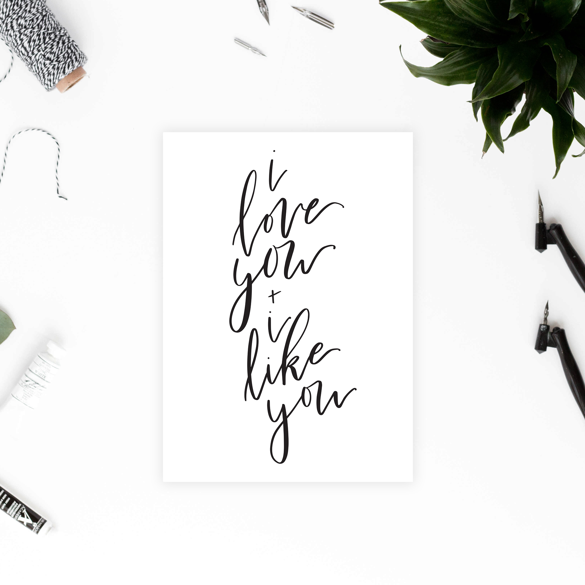 I Love You and I Like You Card - Printable Valentines/Anniversary Card - DIY Greeting Card - I Love You Card - True North Paper Co