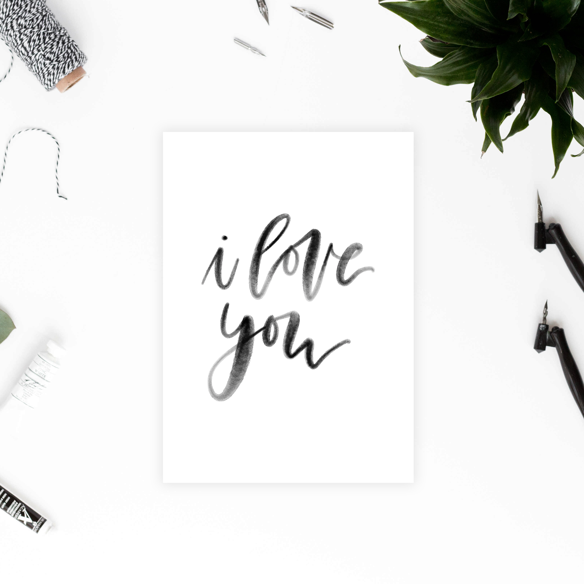 I Love You Card -Minimalist Greeting Card - DIY Printable Valentines/Anniversary Card - Watercolor Bruch Lettering - True North Paper Co.