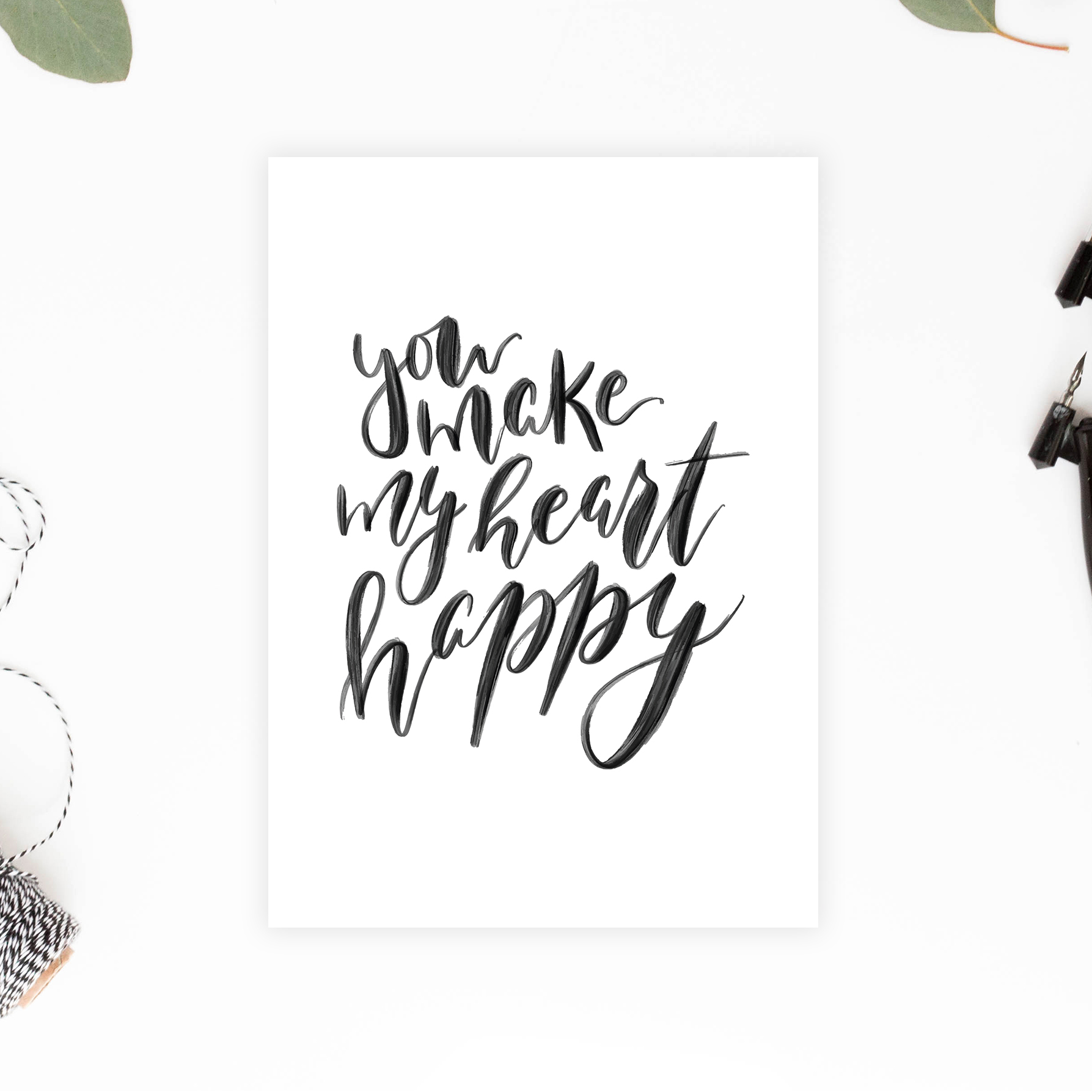 You Make My Heart Happy Printable Card - DIY Valentines/Anniversary Card - Minimalist Greeting Card - True North Paper Co