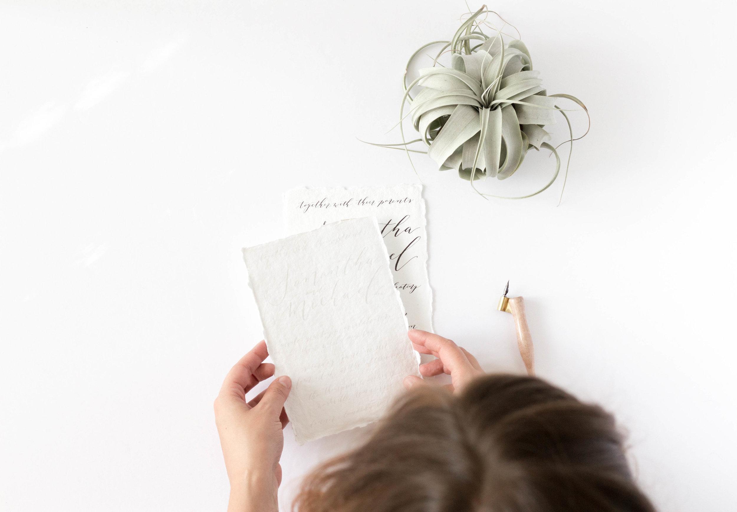 Simple Minimalist Wedding Invitations - Handmade Paper - Modern Calligraphy - True North Paper Co