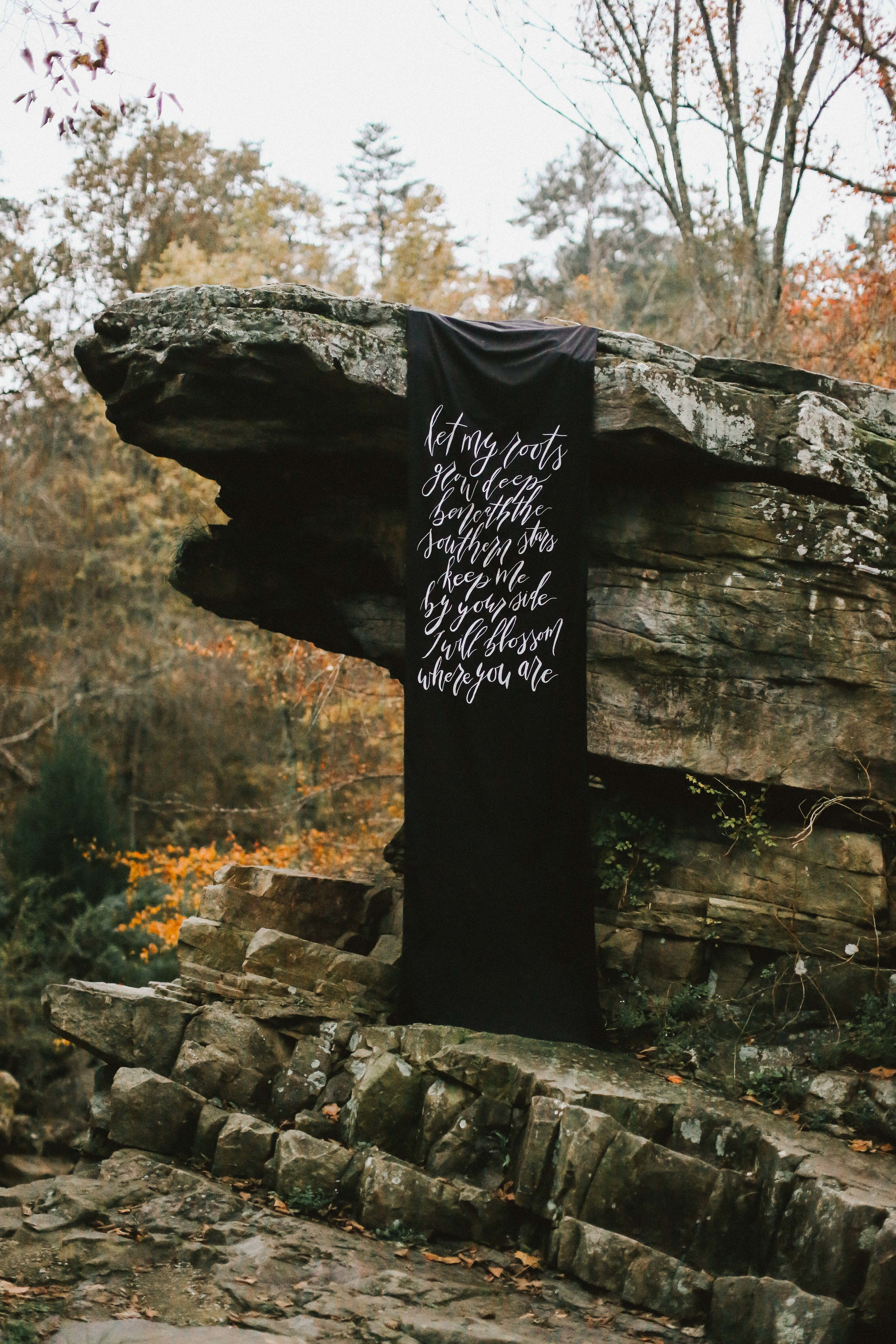 Moody Fall Wedding Inspiration - Black and White Wedding Banner/Sign - Autumn Wedding Ideas