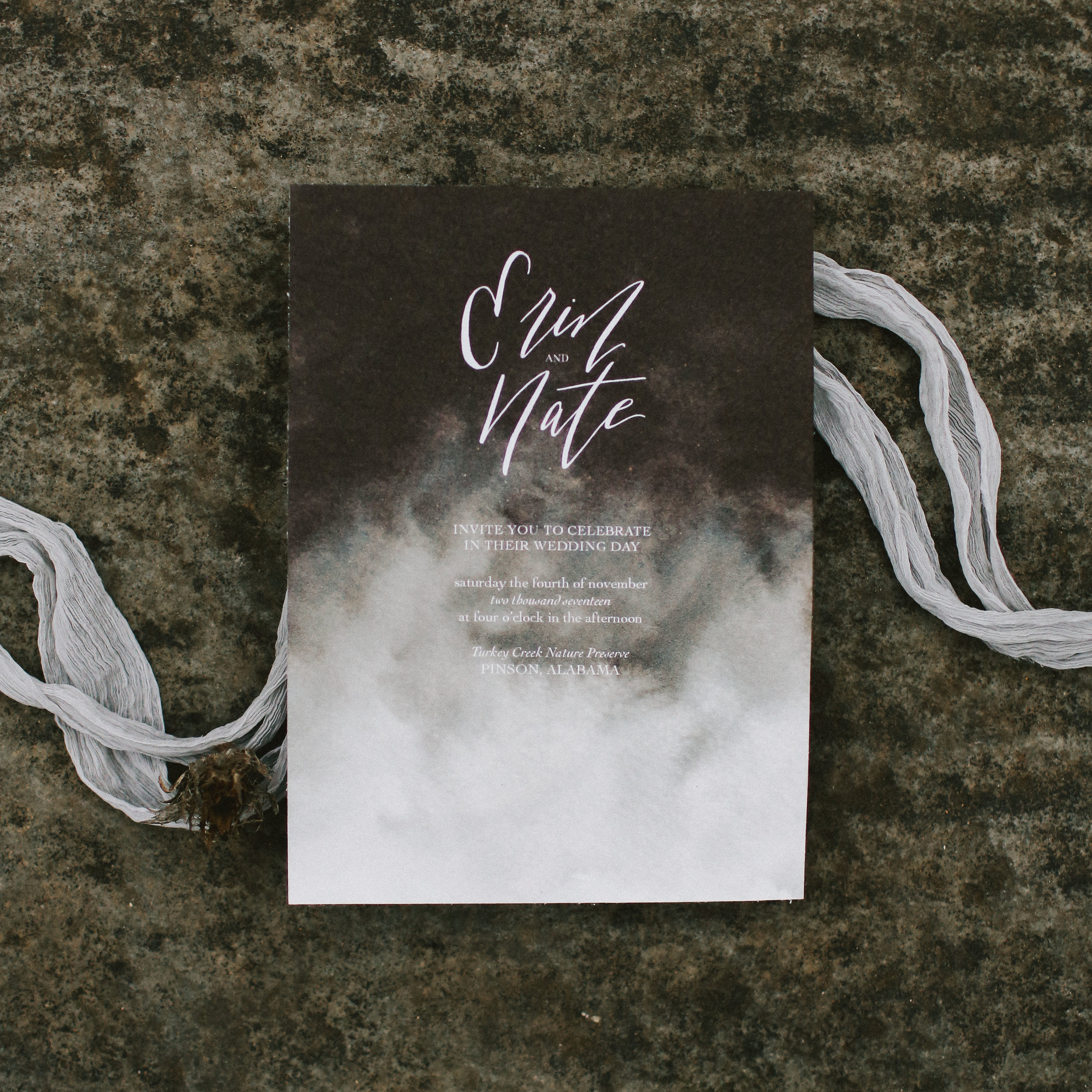 Watercolor Wedding Invitations - Moody Black and White Invitations - Minimalist Wedding Invitations - Fall Wedding Ideas