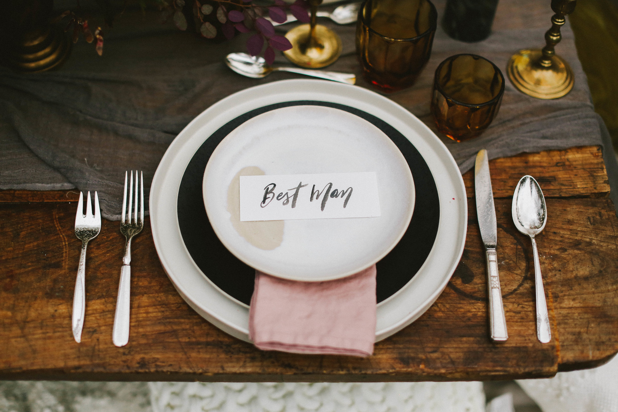 Moody Fall Wedding Shoot - Hand Lettered Place Cards - Fall Wedding Inspiration and Ideas