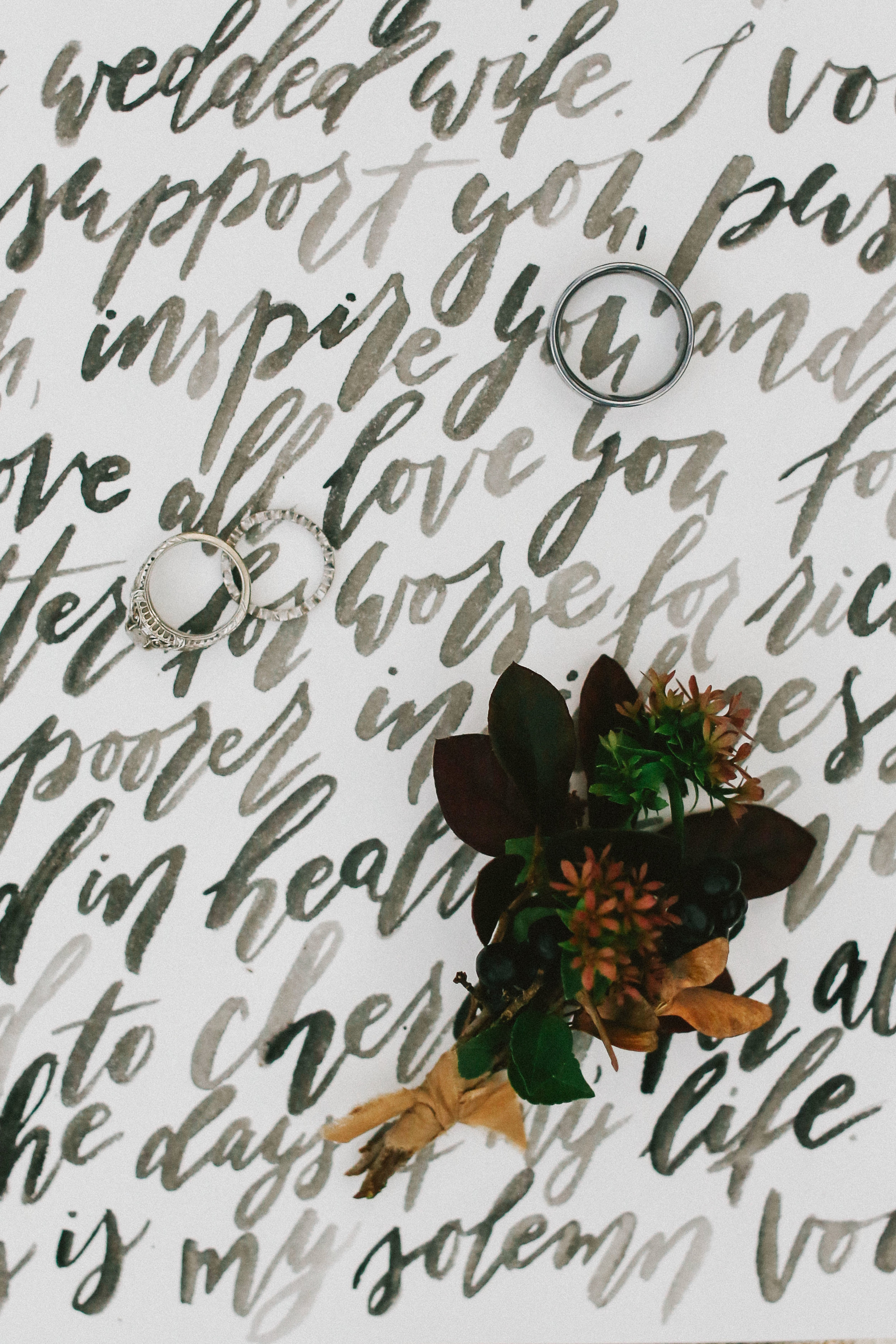 Brush Lettered Vows - Moody Fall Wedding Shoot - Autumn Wedding Inspiration and Ideas