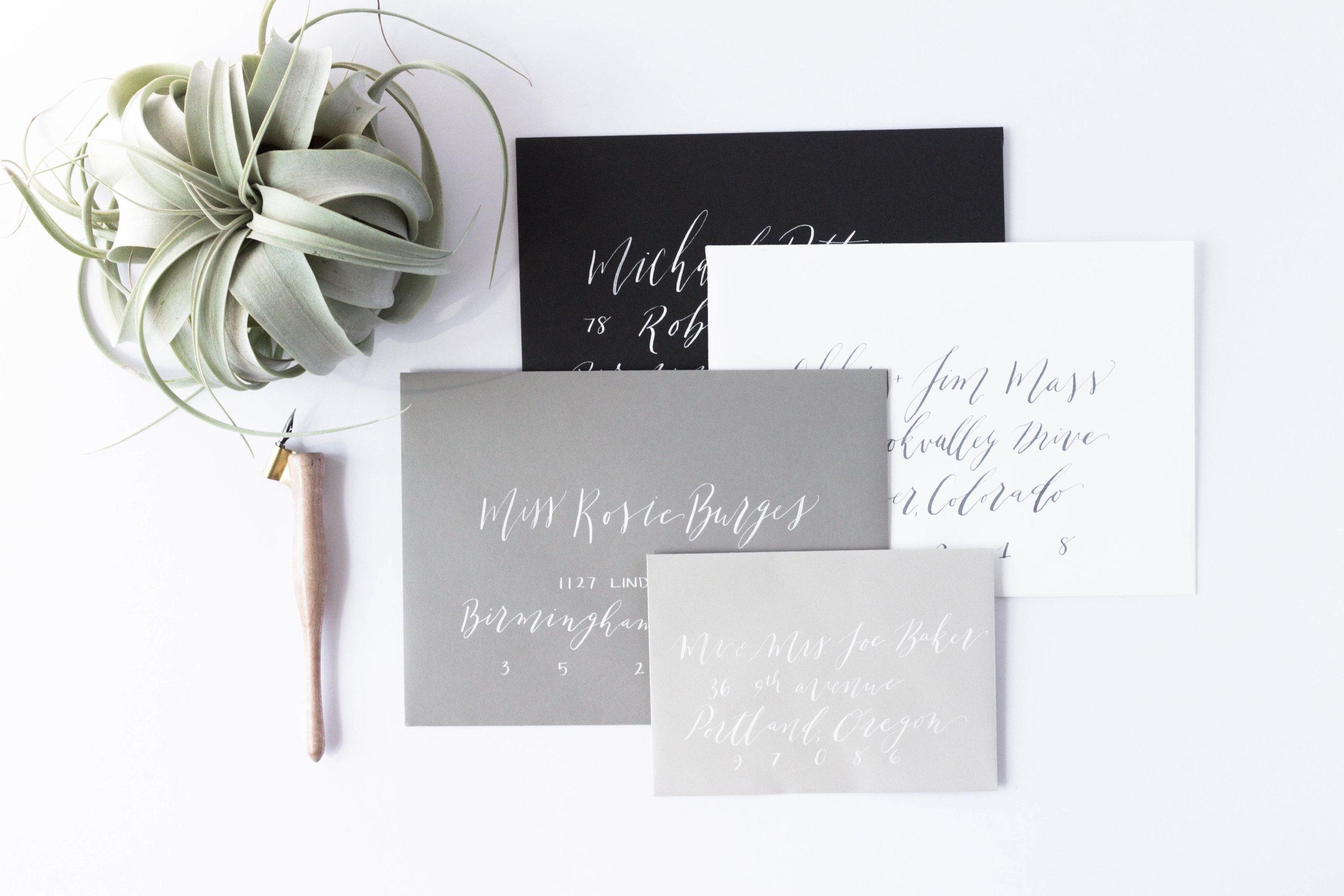 Calligraphy Envelope Addressing - Minimalist Wedding Details - Modern Calligraphy Envelope - True North Paper Co