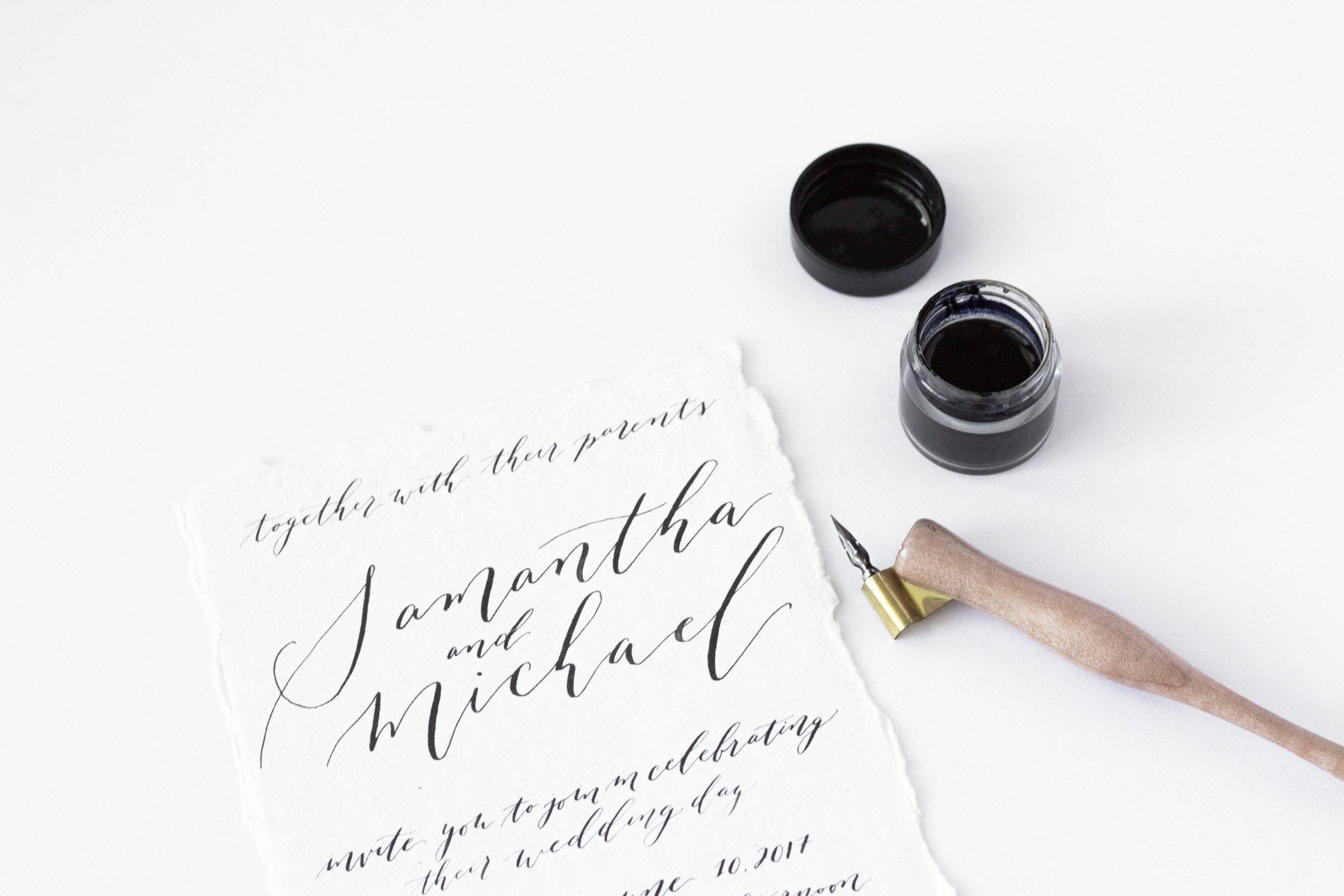 Minimalist Wedding Invitations - Calligraphy Wedding Invitation Suite - Black and White Invitations - True North Paper Co.