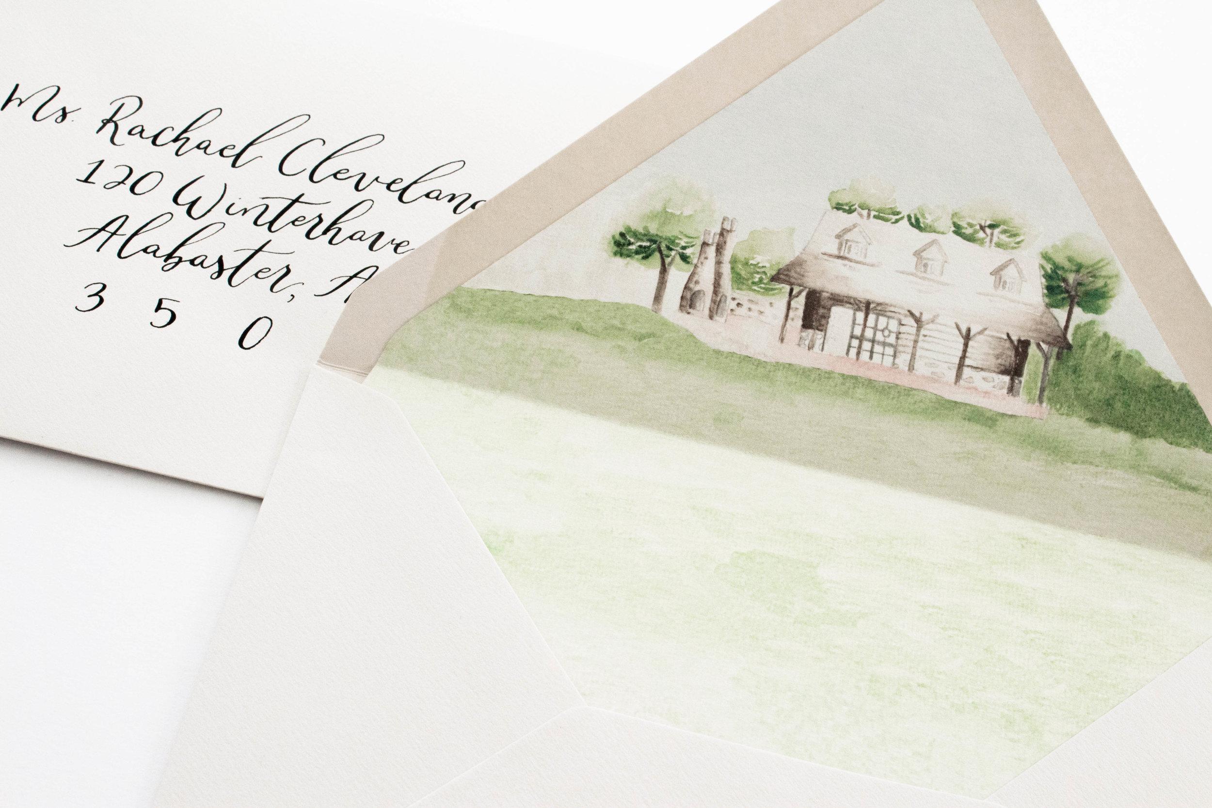 Custom Envelope Liner - Wedding Venue Watercolor Sketch - Watercolor Envelope Liner - True North Paper Co.