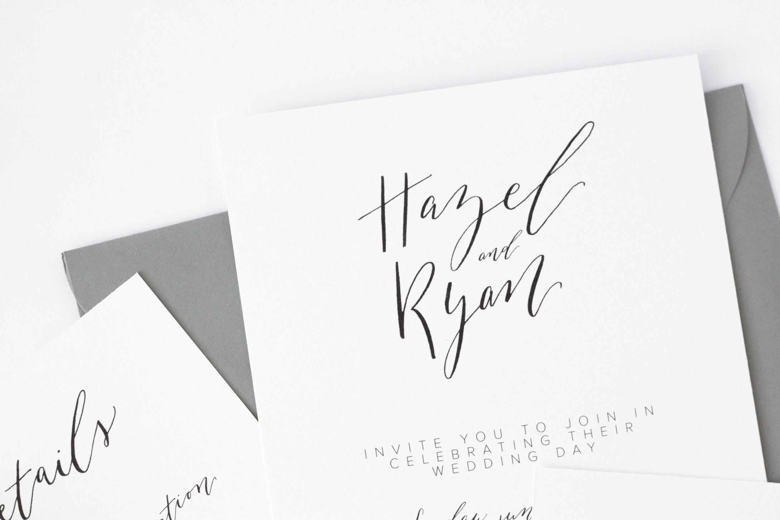 Black and White Invitations-Minimalist Wedding Invitation - Modern Calligraphy-TrueNorthPaperCo