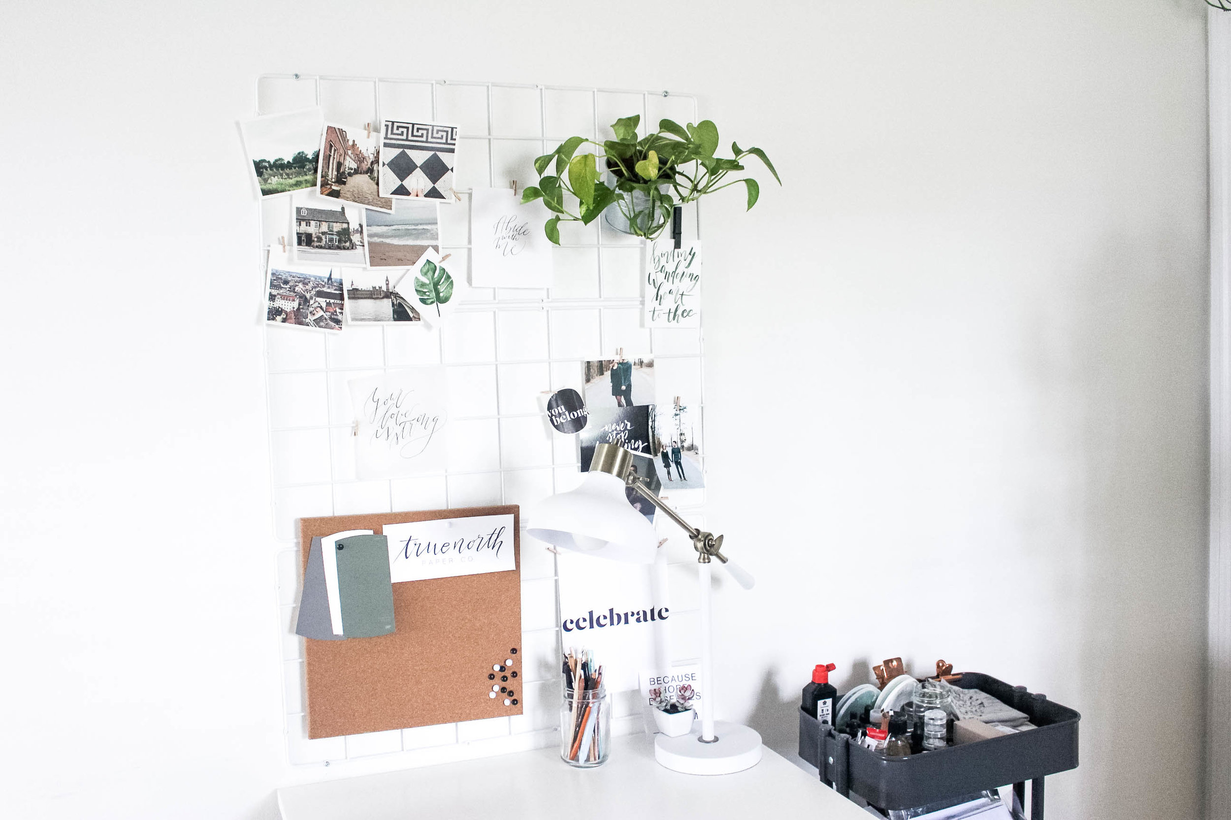 Barso Ikea Trellis Used as Office Board - Calligraphers Office Tour - True North Paper Co.