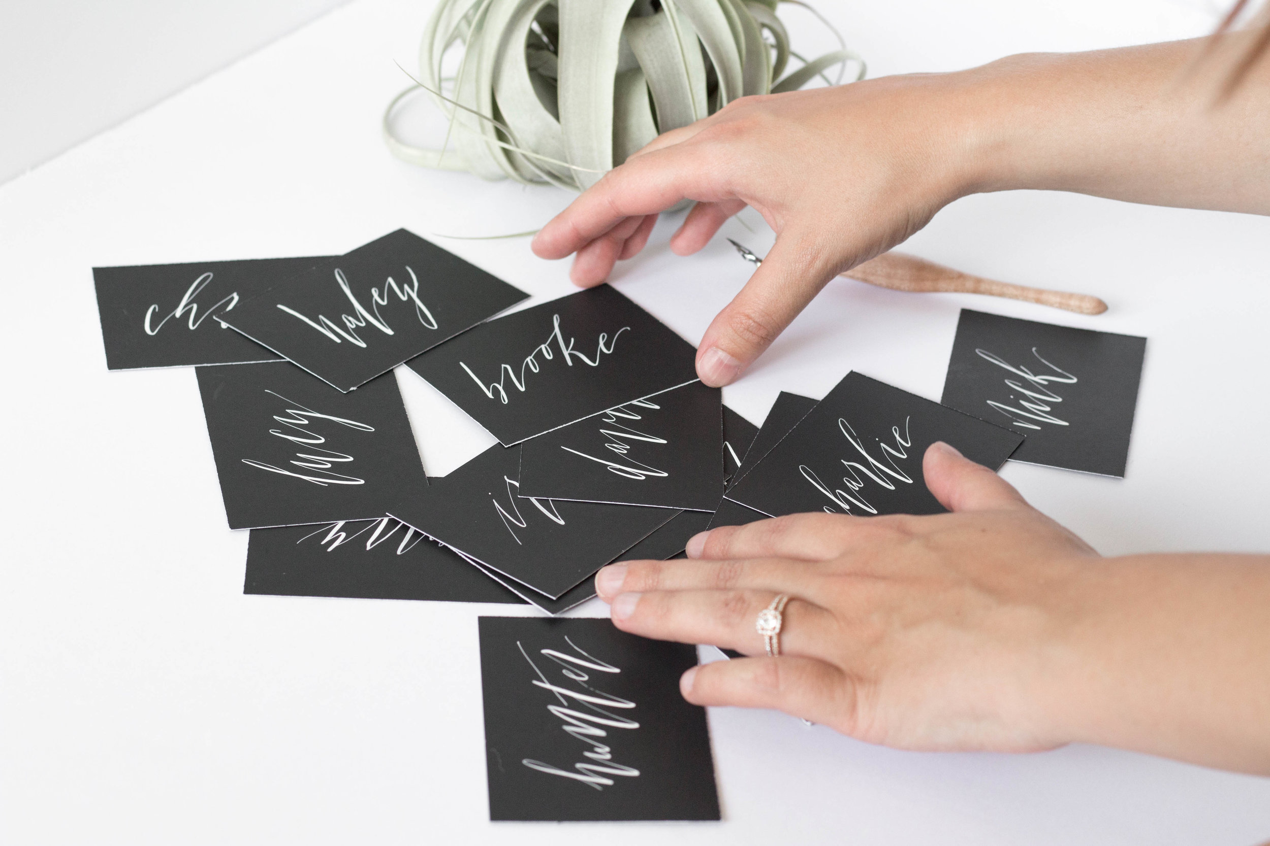 Black Place Cards with White Ink Names in Calligraphy - Minimalist Neutral Wedding - True North Paper Co.