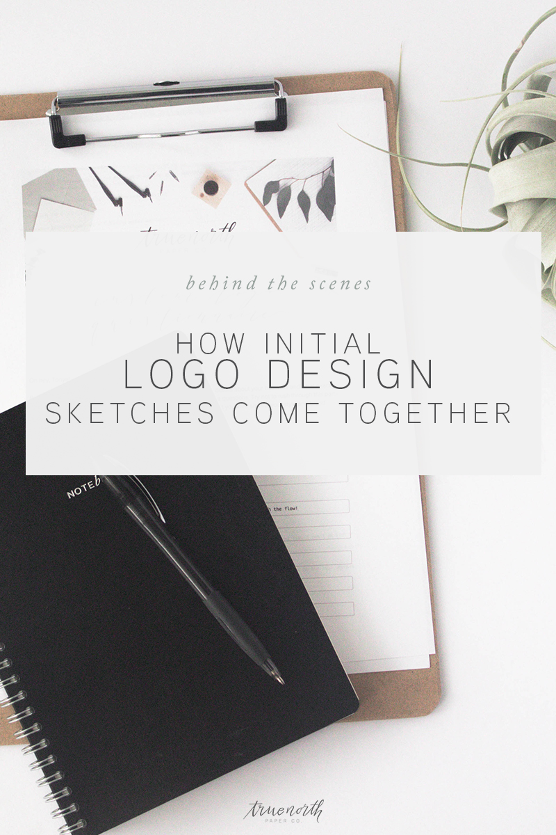 How Initial Logo Design Sketches Come Together - True North Paper Co.
