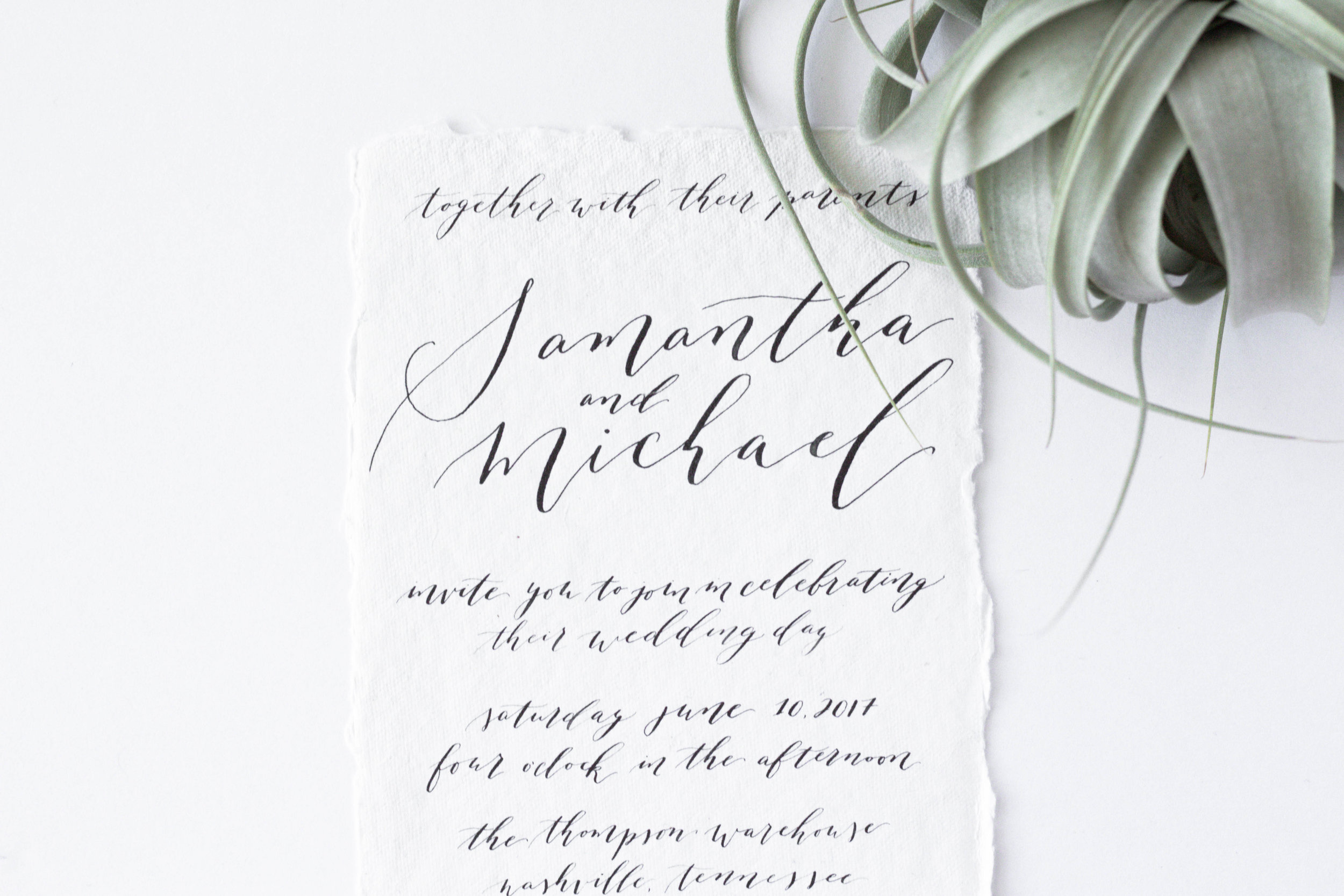 Black and White Wedding Invitation - Minimalist Wedding Suite - Wedding Calligrapher - True North Paper Co.