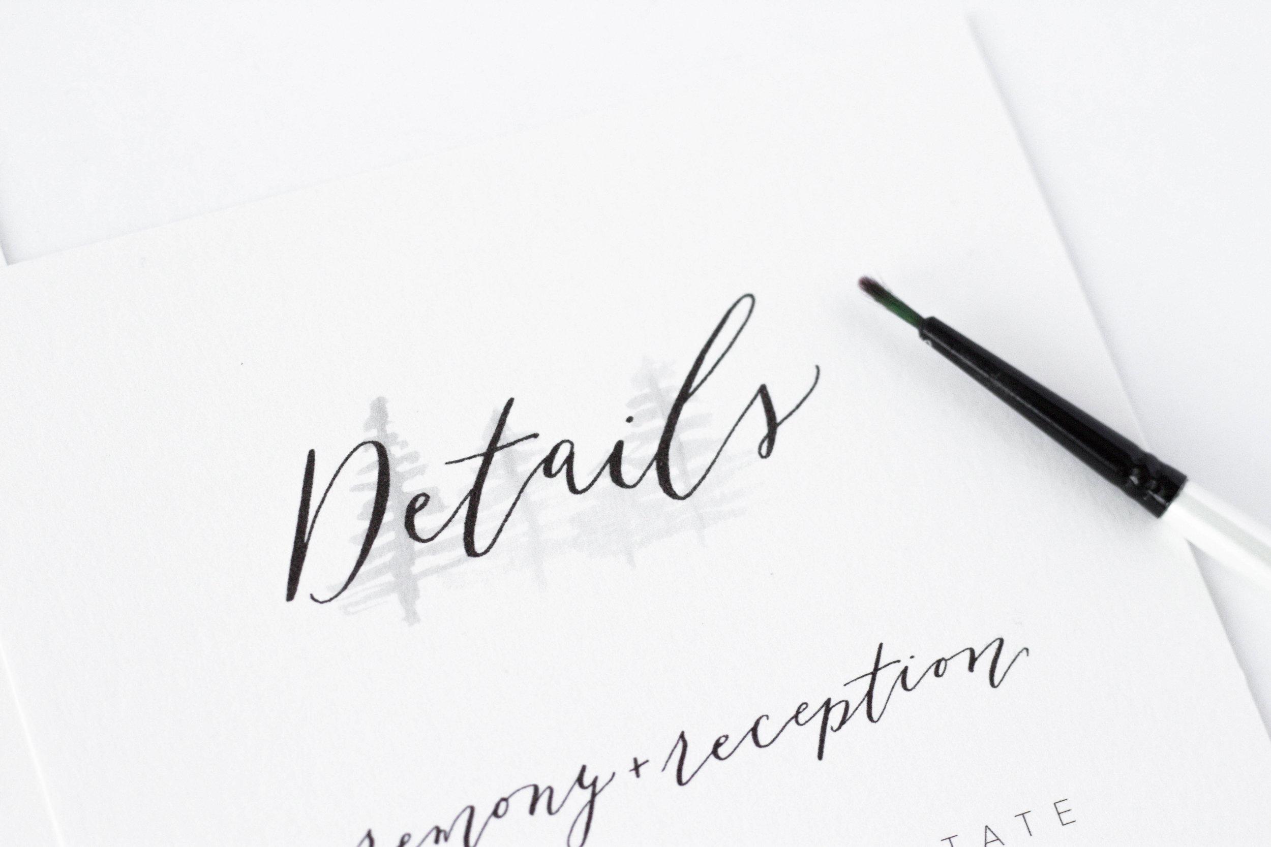 Minimalist Wedding Invitation Suite - Minimalist Wedding Details - True North Paper Co.