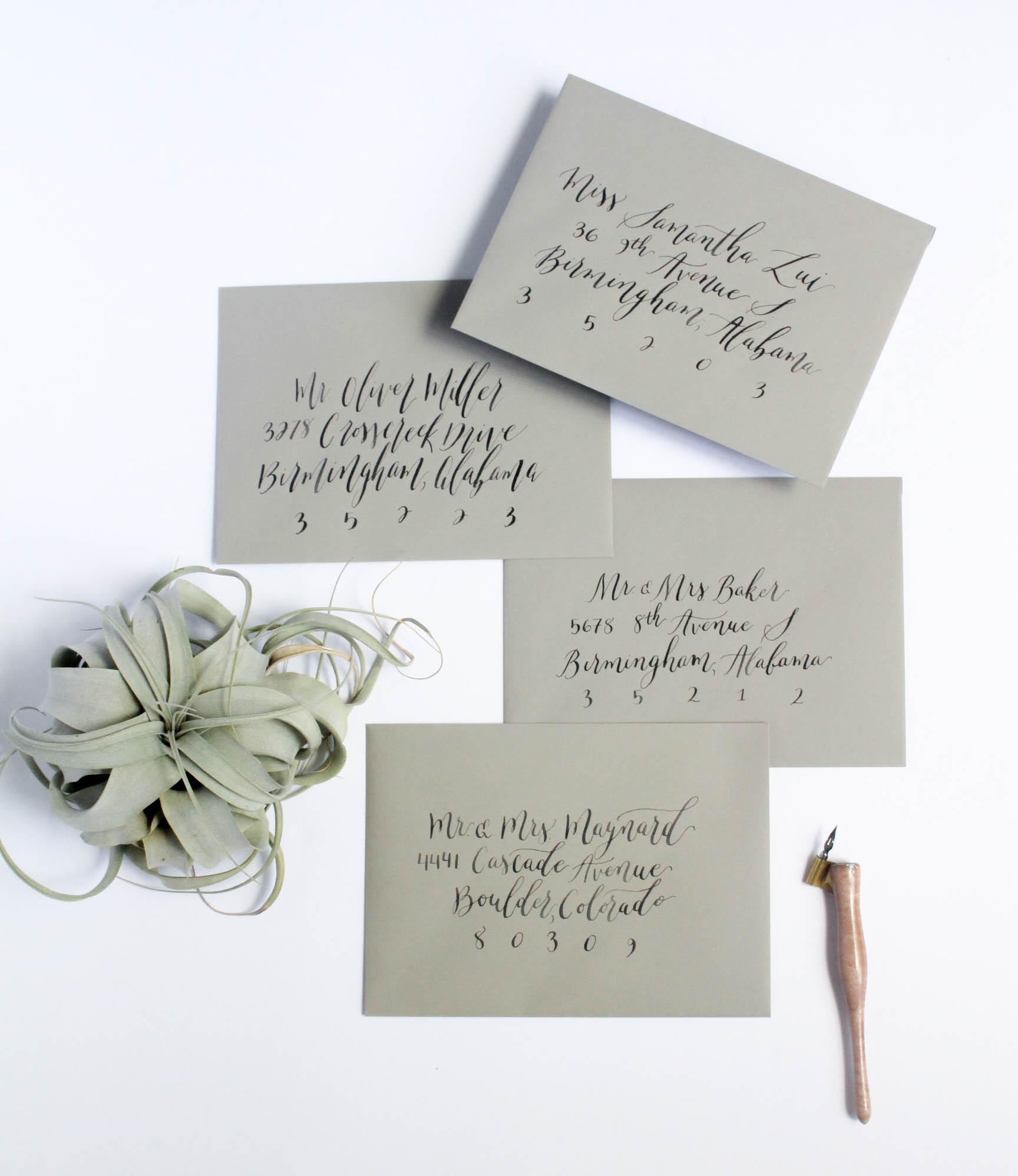 Envelope Addressing - Different Styles of Calligraphy - True North Paper Co