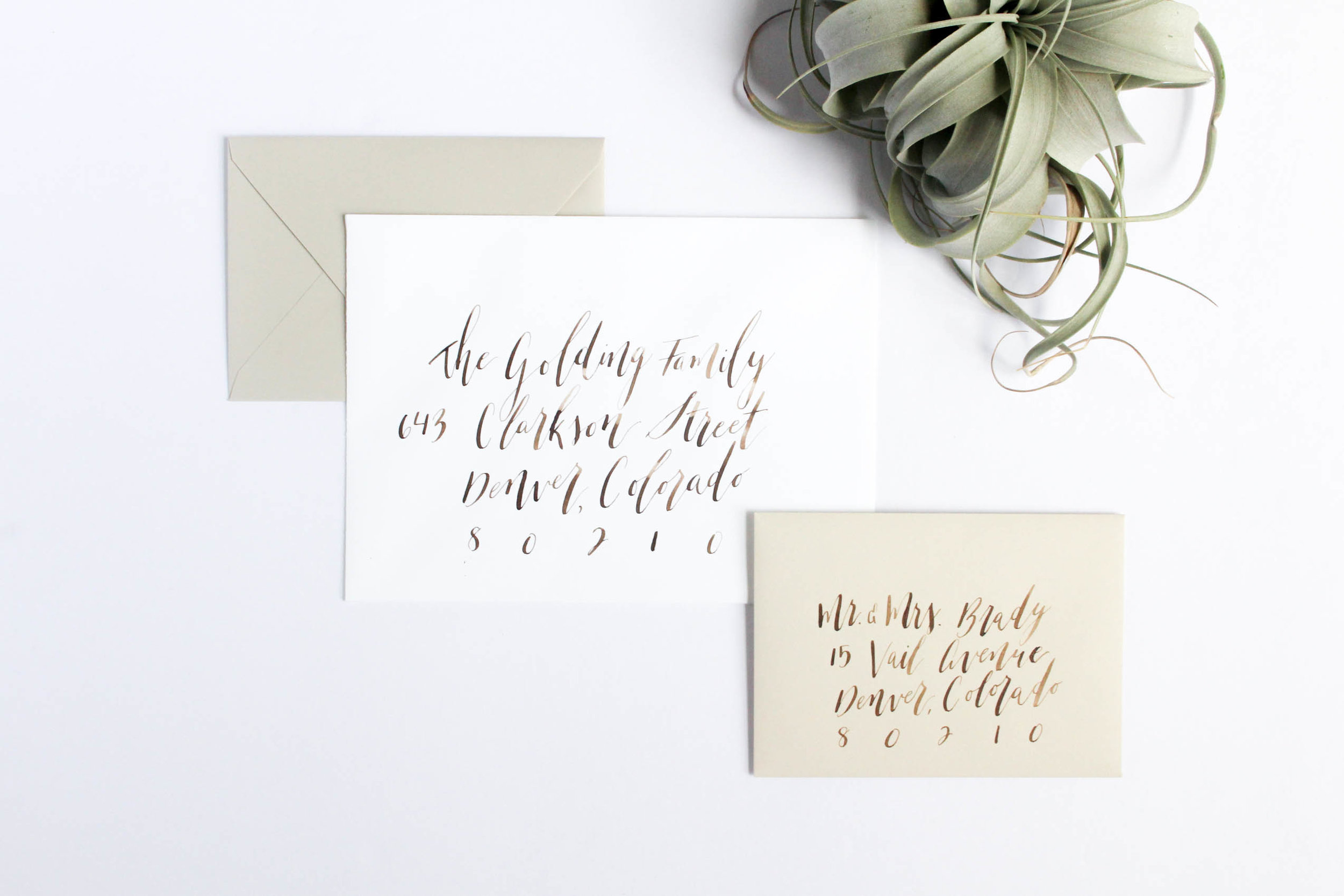 Envelope Addressing - Brown Ink Calligraphy on White and Beige Envelopes - True North Paper Co