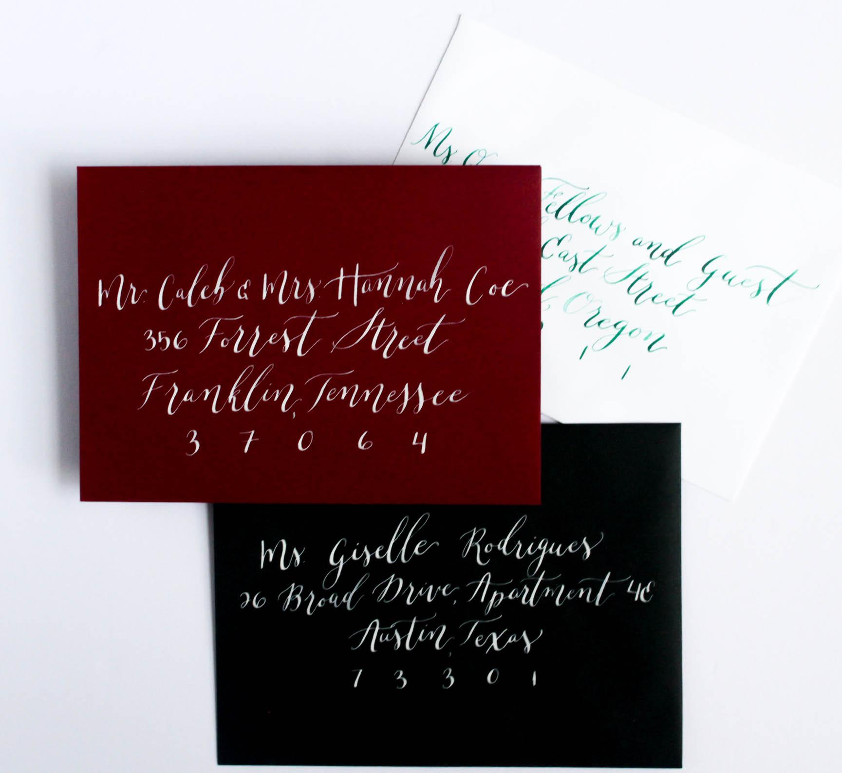 Envelope Addressing - Ink and Envelope Colors - True North Paper Co