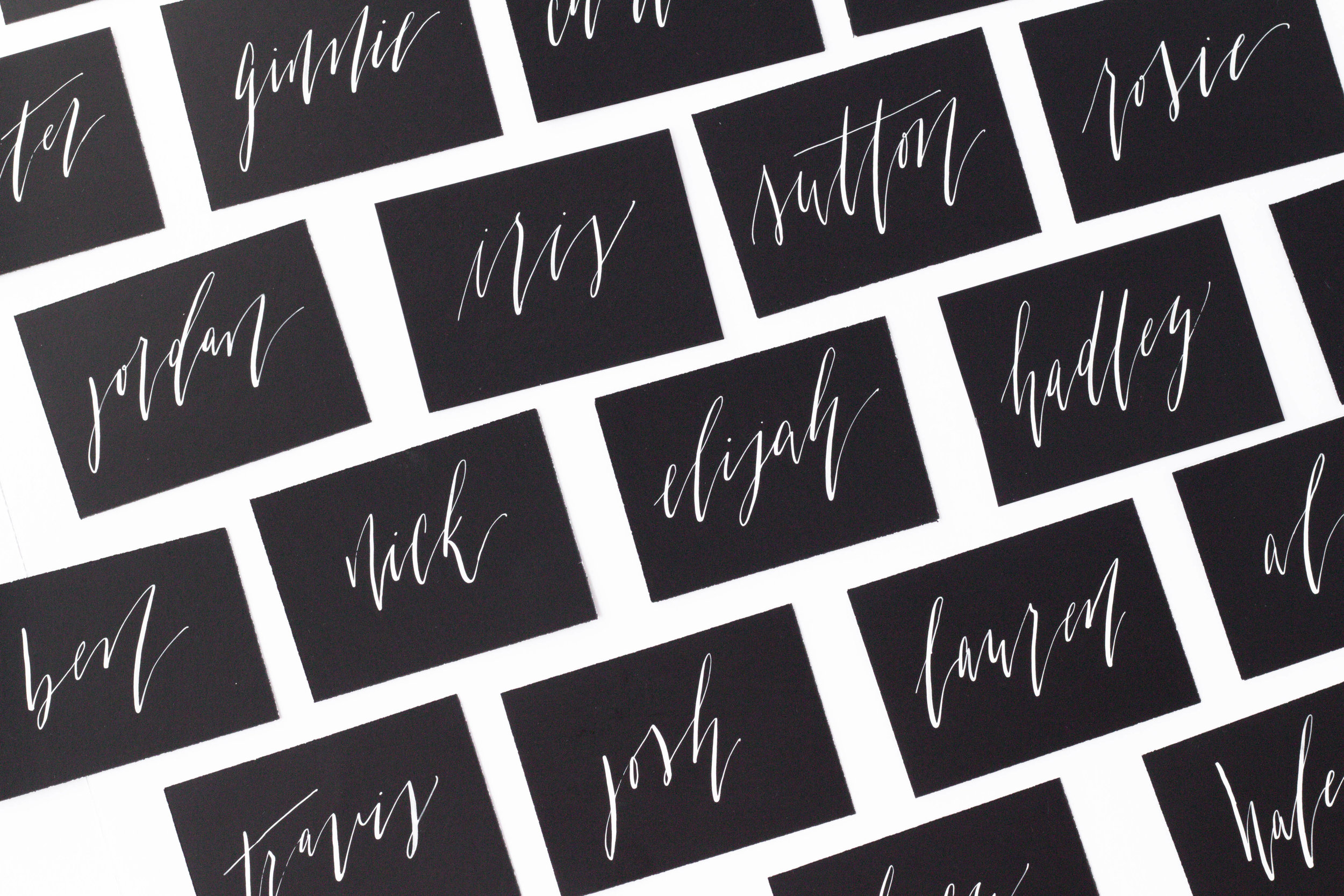 Calligraphy Place Cards - White Ink on Black Place Cards - Escort Cards - Wedding Details