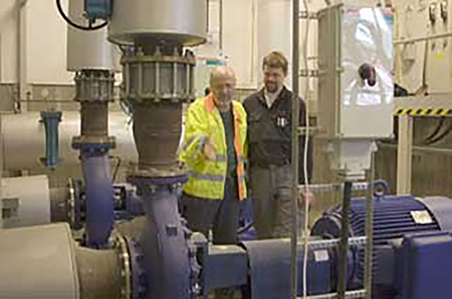"Three pumps maintain the pressure in the district heating network pipes. Peter Johannisson (right) and Franc Rostedt (left) are very pleased with the extended functionality of the Emotron FDU 2.0. ""The built-in shaft power monitor prevents dry-running and we can control several pumps with just one Variable Speed Drive,"" says Peter Johannisson."