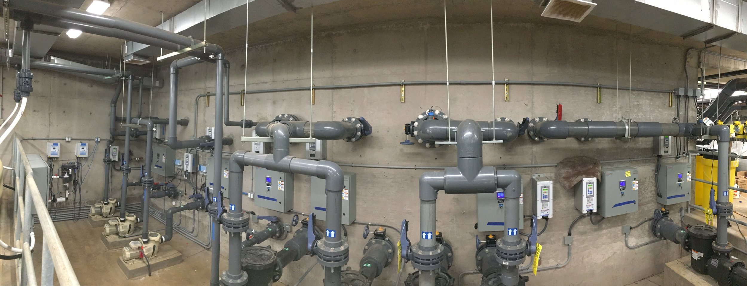 The pool equipment room with Eco-Flow-C® installations at Koloa Landing Resort.
