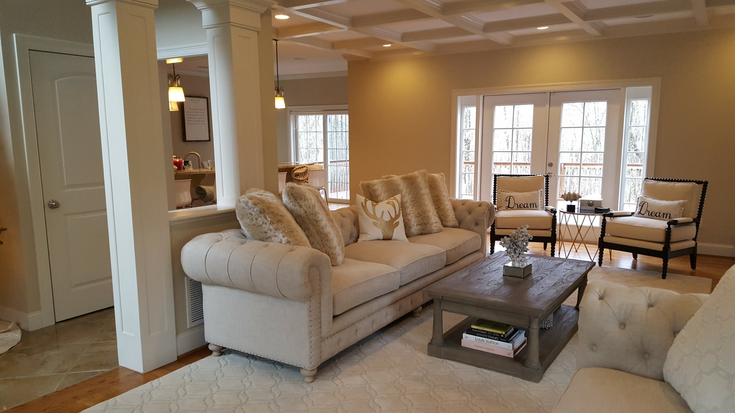 Living Room Design and Remodel and Columns in East Lyme CT | Shaw Remodeling