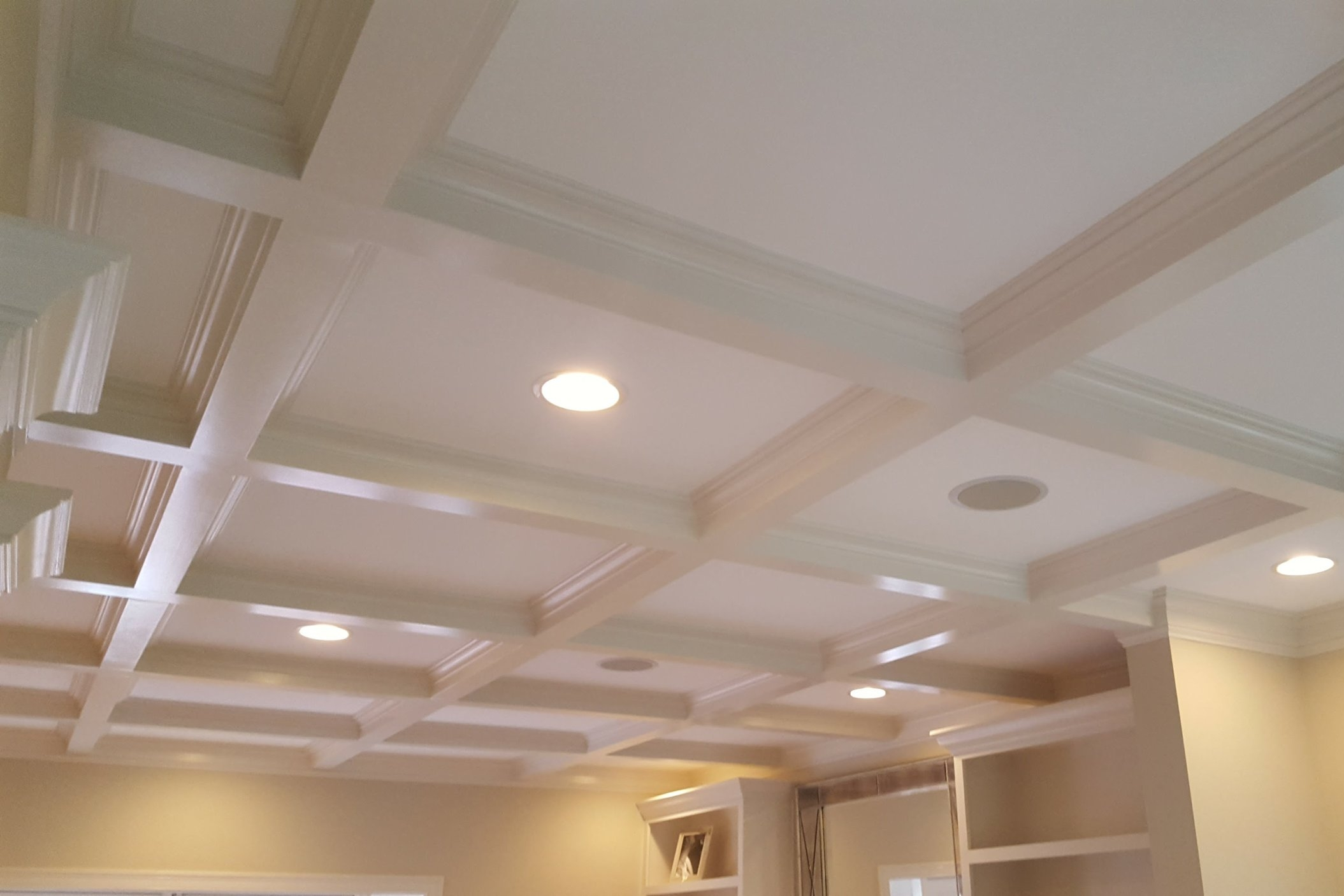 Living Room Remodel with Coffered Ceilings in East Lyme CT | Shaw Remodeling