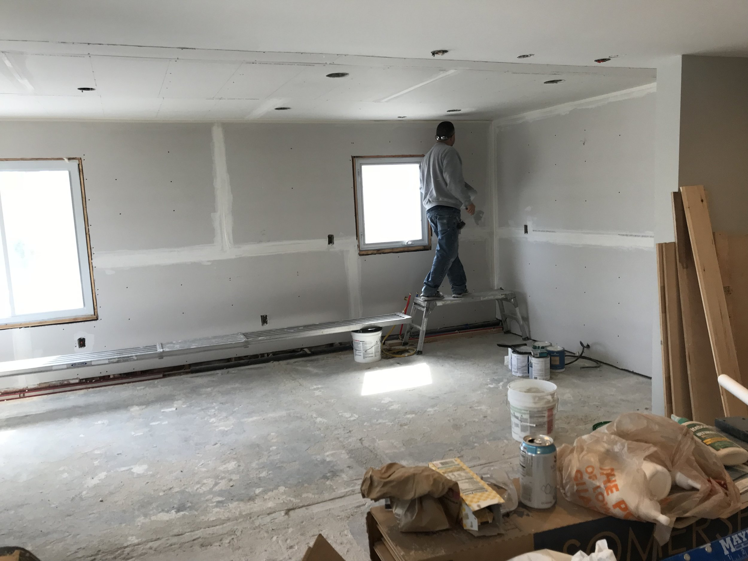 Shaw Remodeling - Progress photo - Kitchen and Living Room renovations - drywall - Niantic CT (2).jpg