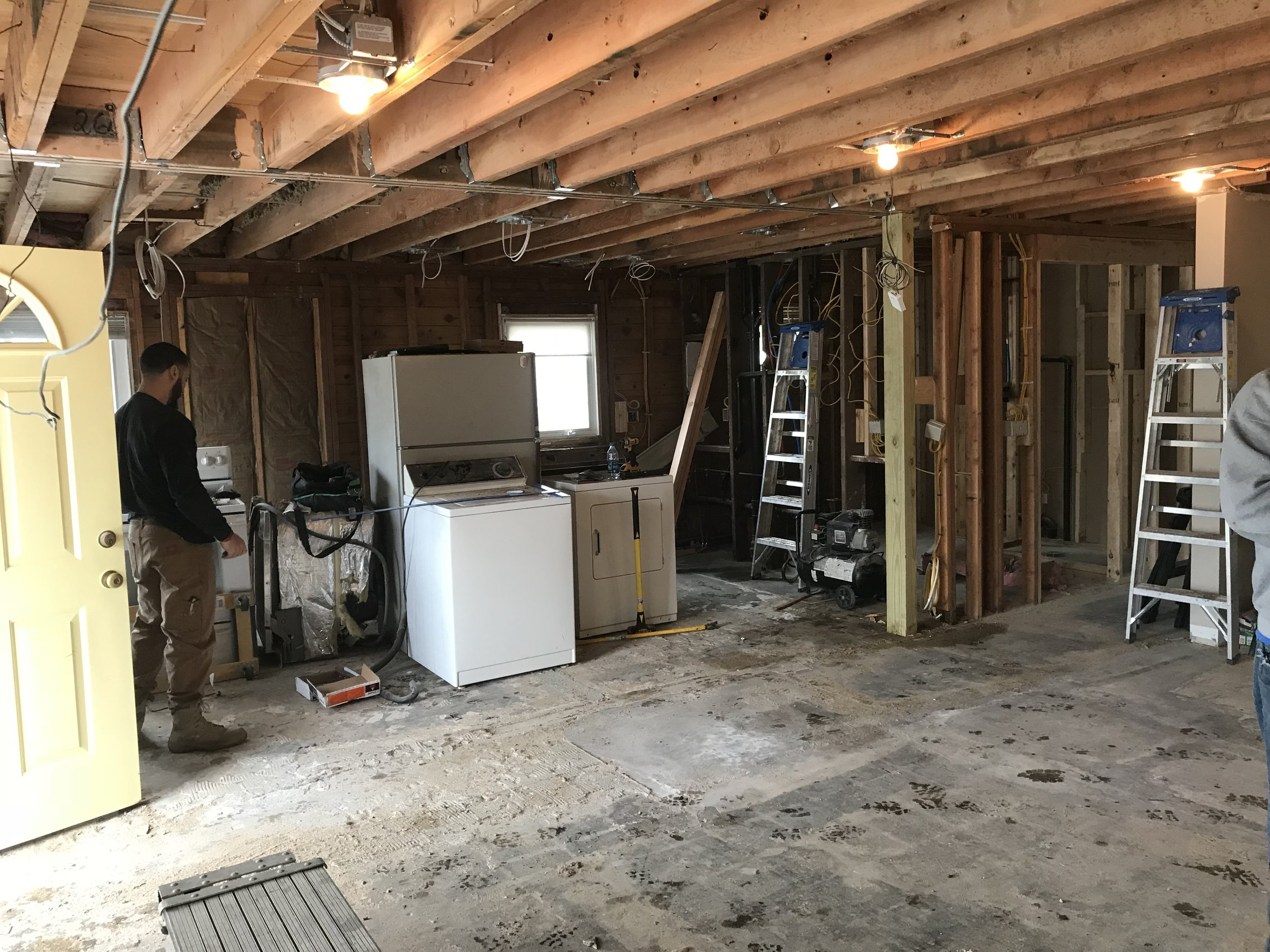 Shaw Remodeling - Progress photo - Kitchen and living room renovations with new ceiling beam - Niantic CT  (1).jpg