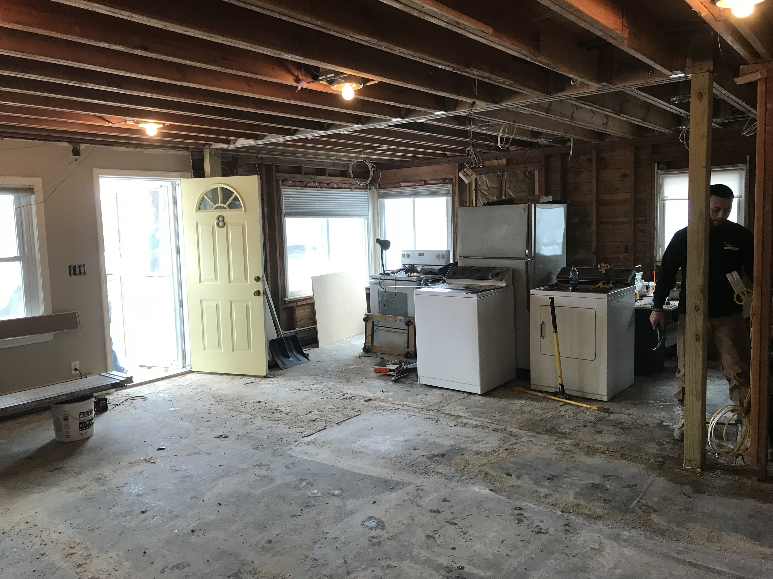 Shaw Remodeling - Progress photo - Kitchen and living room renovations with new ceiling beam - Niantic CT  (2).jpg