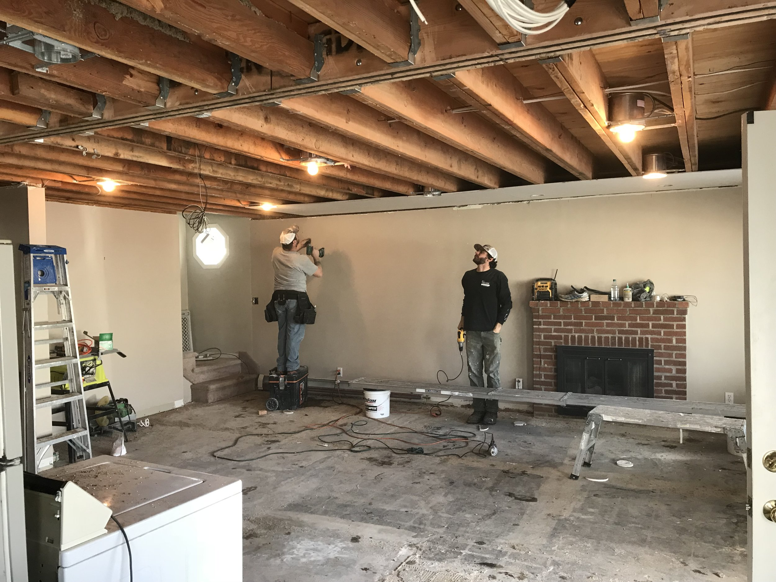 Shaw Remodeling - Progress photo - Kitchen and living room renovations with new ceiling beam - Niantic CT  (3).jpg