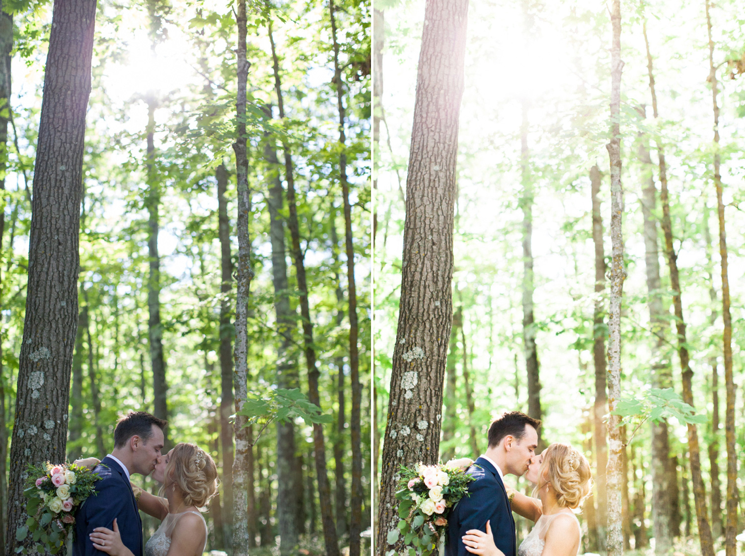 This is one of my very favorite images ever. I love the backdrop of the woods, the romantic light and the stealing of a kiss. However, I needed to brighten my subjects a bit, make the overall color tone slightly warmer, and increase the presence of the sunlight coming through the trees - giving the image a more etherial feel.