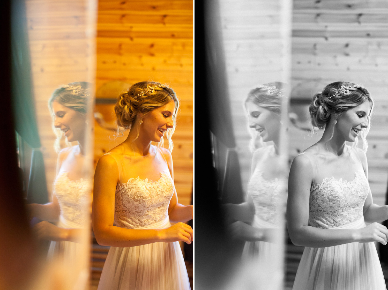 I adore this moment of the bride getting ready and being able to catch her reflection in the mirror. But, the room itself was dark and also made entirely of wood panels, which cast a yellow-ish glow on the subject. I felt that the image would be more powerful in black & white, removing all the distractions of color.