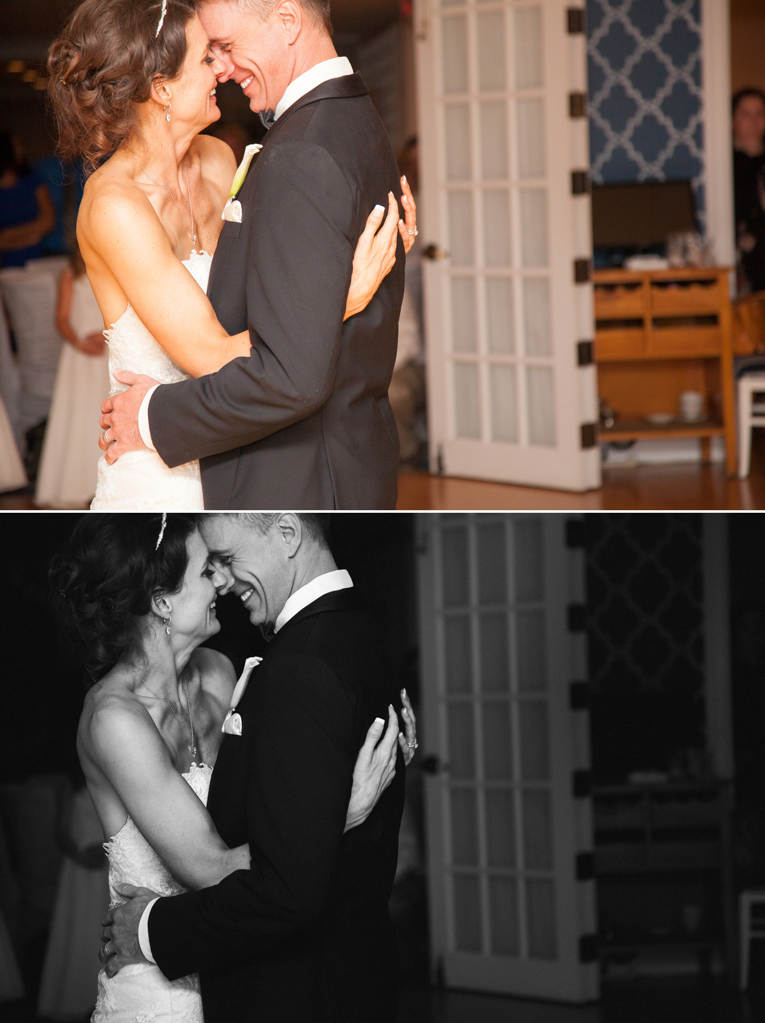 Another wonderfully intimate moment. On the dance floor, we usually have to use a lot of flash... here we've provided enough light to capture the action, but I wanted it to feel more timeless. Making the image black & white created a very classic feel and eliminated all of the background distractions.
