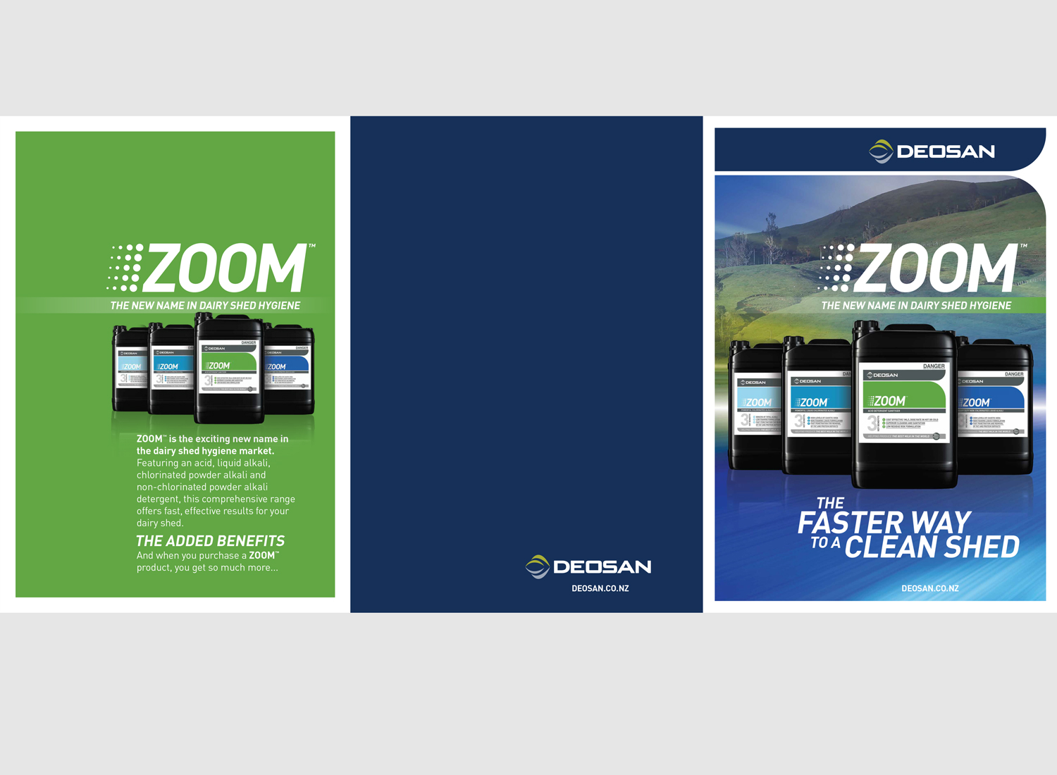 Promotional brochure for ZOOM, dairy shed hygiene product range