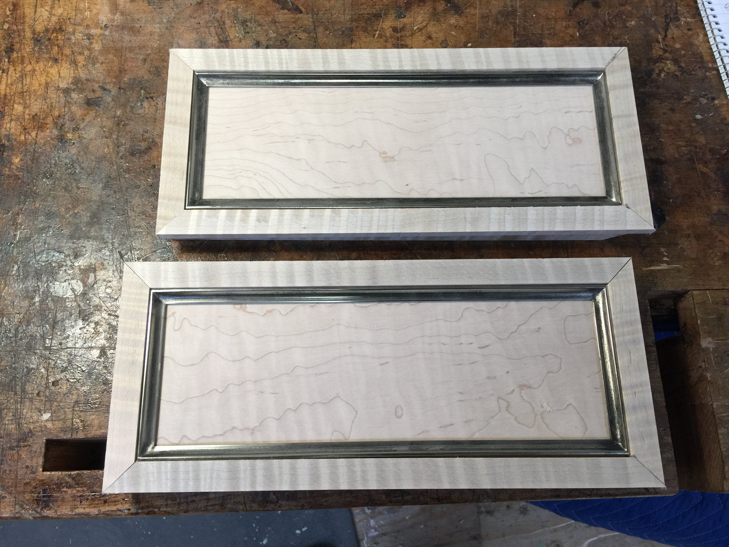 Dry fitting the wooden and metal frames for the drawer fronts.