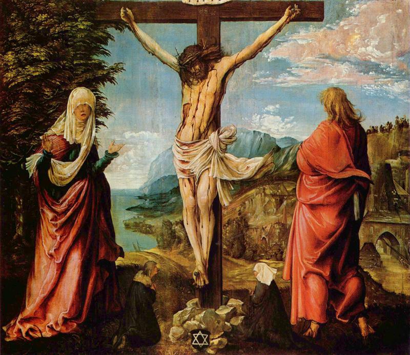 Albrecht Altdorfer, Crucifixion Scene, Christ On The Cross With Mary And John, 1515/1516.   PLACEMENTS: COSTAS |PEITO & ABS | CABEÇA | CABEÇA & PESCOÇO | COSTAS & PESCOÇO | ABD & COXAS | 1 PEITO, OMBRO & ABD | BRAÇO & MÃO | BODYSUITE |