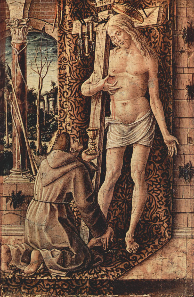 Carlo Crivelli, Saint Francis Collecting the Blood of Christ, circa 1480/1500.   PLACEMENTS:  PEITO & ABD | COXAS |