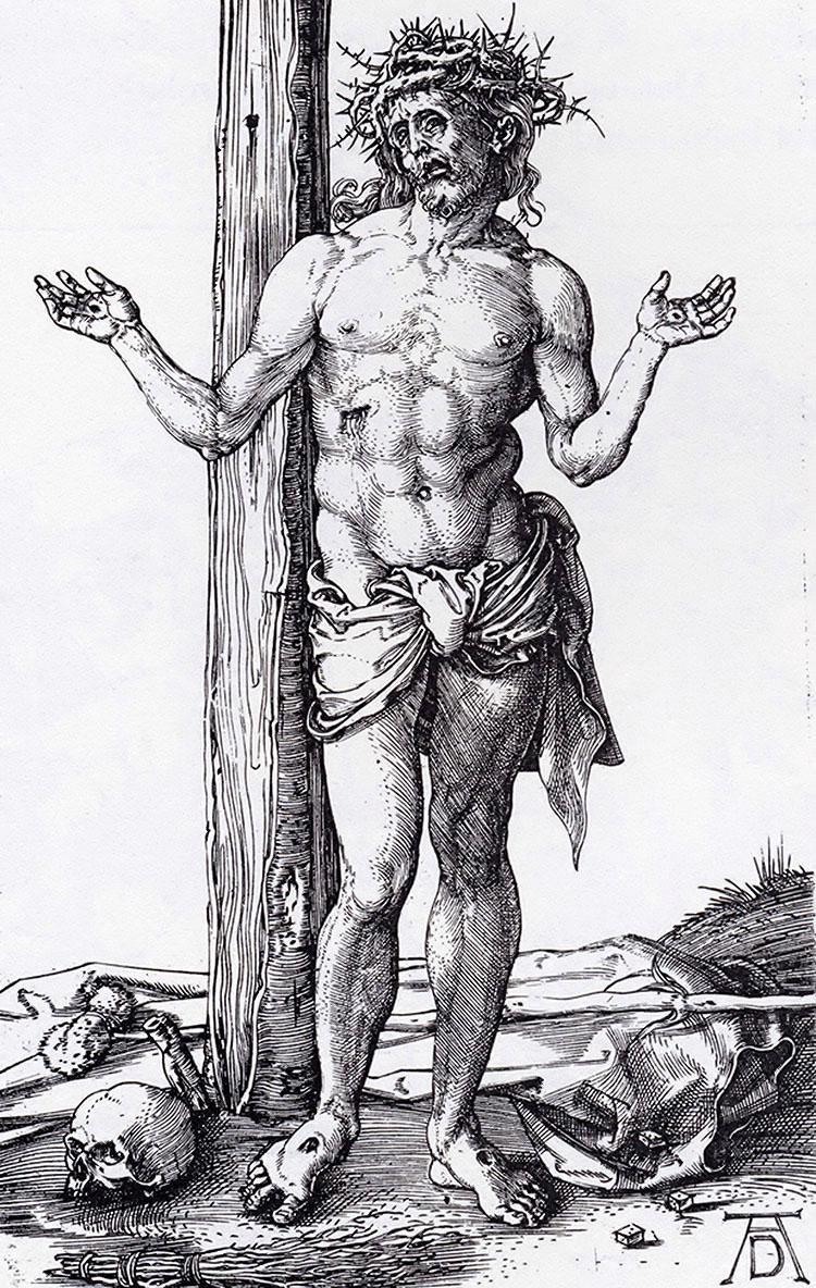 Albrecht Dürer, Christ as the Man of Sorrows, 1500.   PLACEMENTS:  PEITO & ABD |1 BRAÇO, PEITO, PESCOÇO & ABD | ABD & COXAS | COSTAS, 1 BRAÇO & CABEÇA |