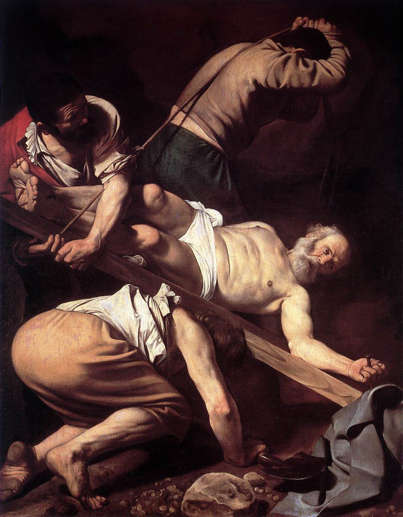 Michelangelo Merisi da Caravaggio, The Crucifixion of Saint Peter, 1600/1601.   PLACEMENTS:  COSTAS | PEITO & ABD |