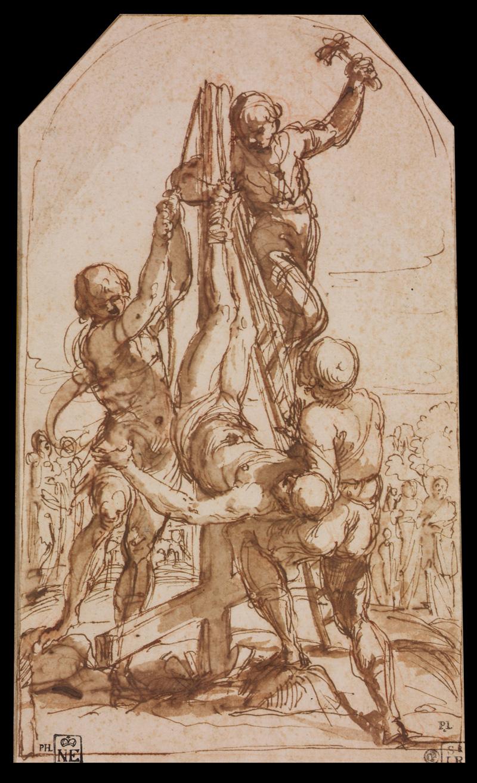 Guido Reni, Sketch of Crucifixion of Saint Peter, 1604.   PLACEMENTS:  ABD & COXAS | MÃO & BRAÇO |