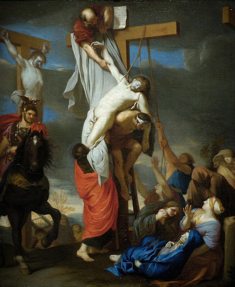 Charles Le Brun, The Descent from the Cross, 1642/1645   Placements: COSTAS |COSTAS & GLÚTEOS | PEITO & ABD | 1 BRAÇO, PEITO, ABD & COXA | 1 BRAÇO, PEITO & ABD |