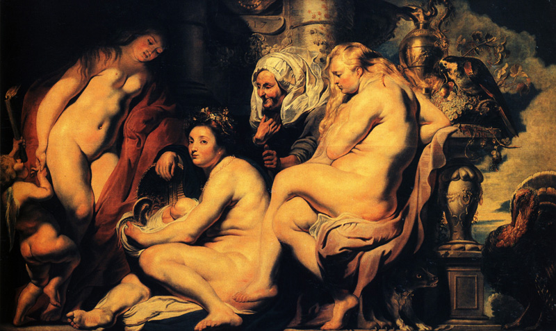 Jacob Jordaens , The daughters of cecrops finding the child erichthonius, 1617   Placements:  1 BRAÇO, PEITO & ABD |