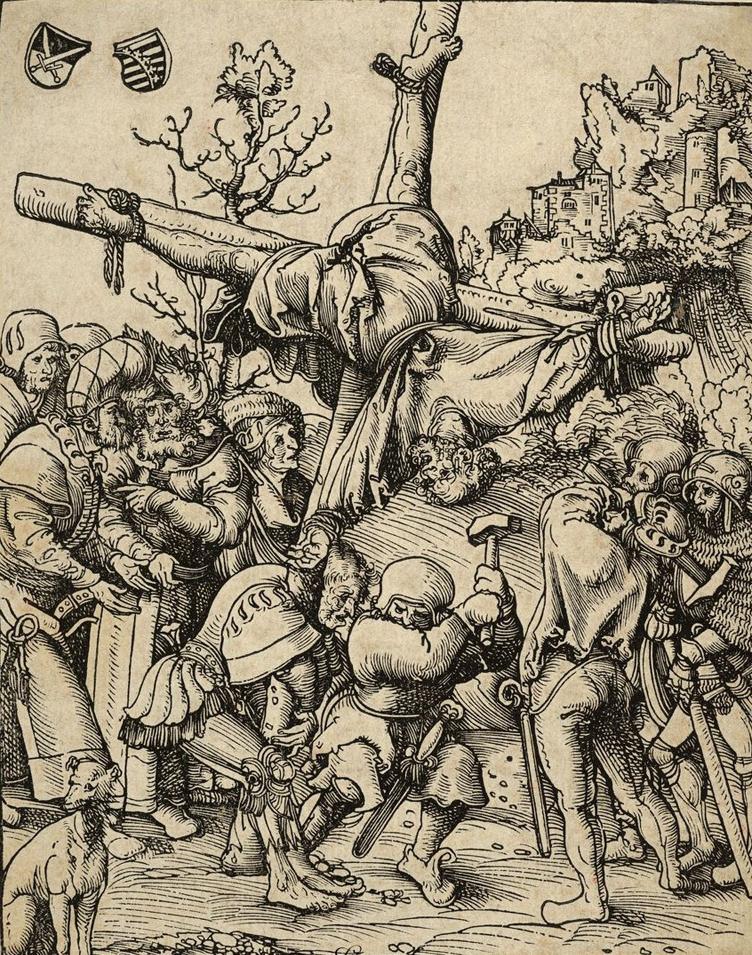 Lucas Cranach the Elder, Peter from the Martyrdom of the Twelve Apostles, circa 1512.   PLACEMENTS:  COSTAS | PEITO, ABD & PERNA | 1 BRAÇO, PEITO, PESCOÇO & ABD | COSTAS & CABEÇA |