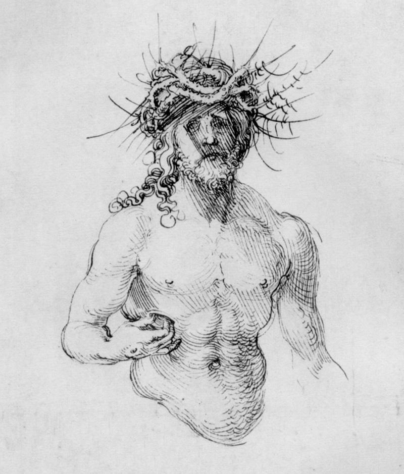 Albrecht Dürer, study sheet with Christ as man of sorrows, Detail.   PLACEMENTS:  COSTAS | PEITO & ABD | CABEÇA | MÃO & BRAÇO |