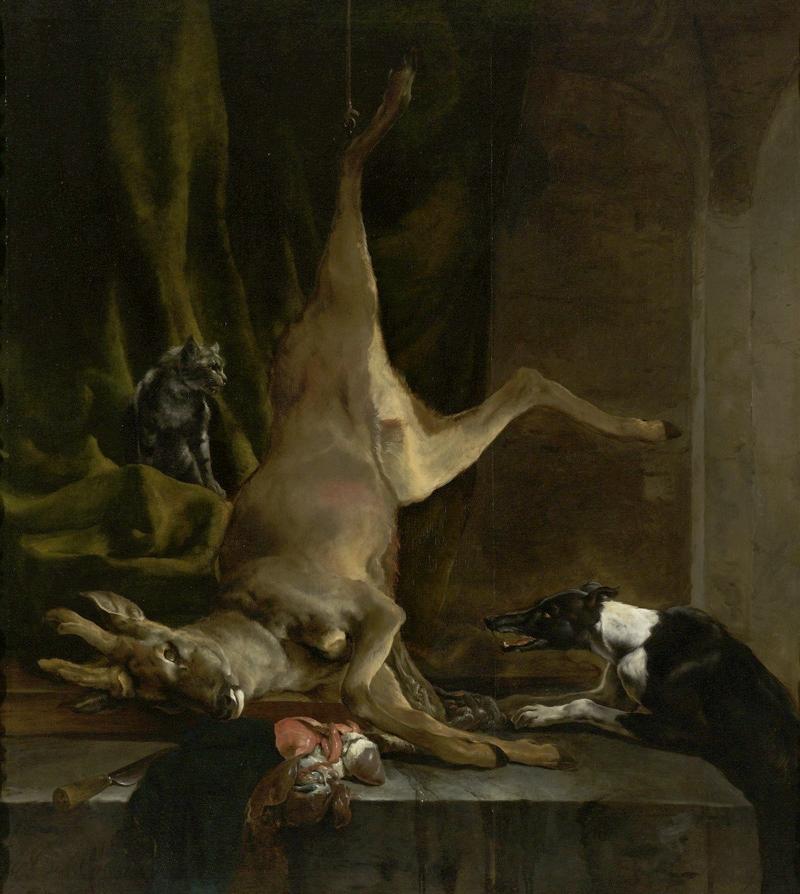 Jan Baptist Weenix, A Dog and a Cat near a Partially Disembowelled Deer, circa 1647/1660
