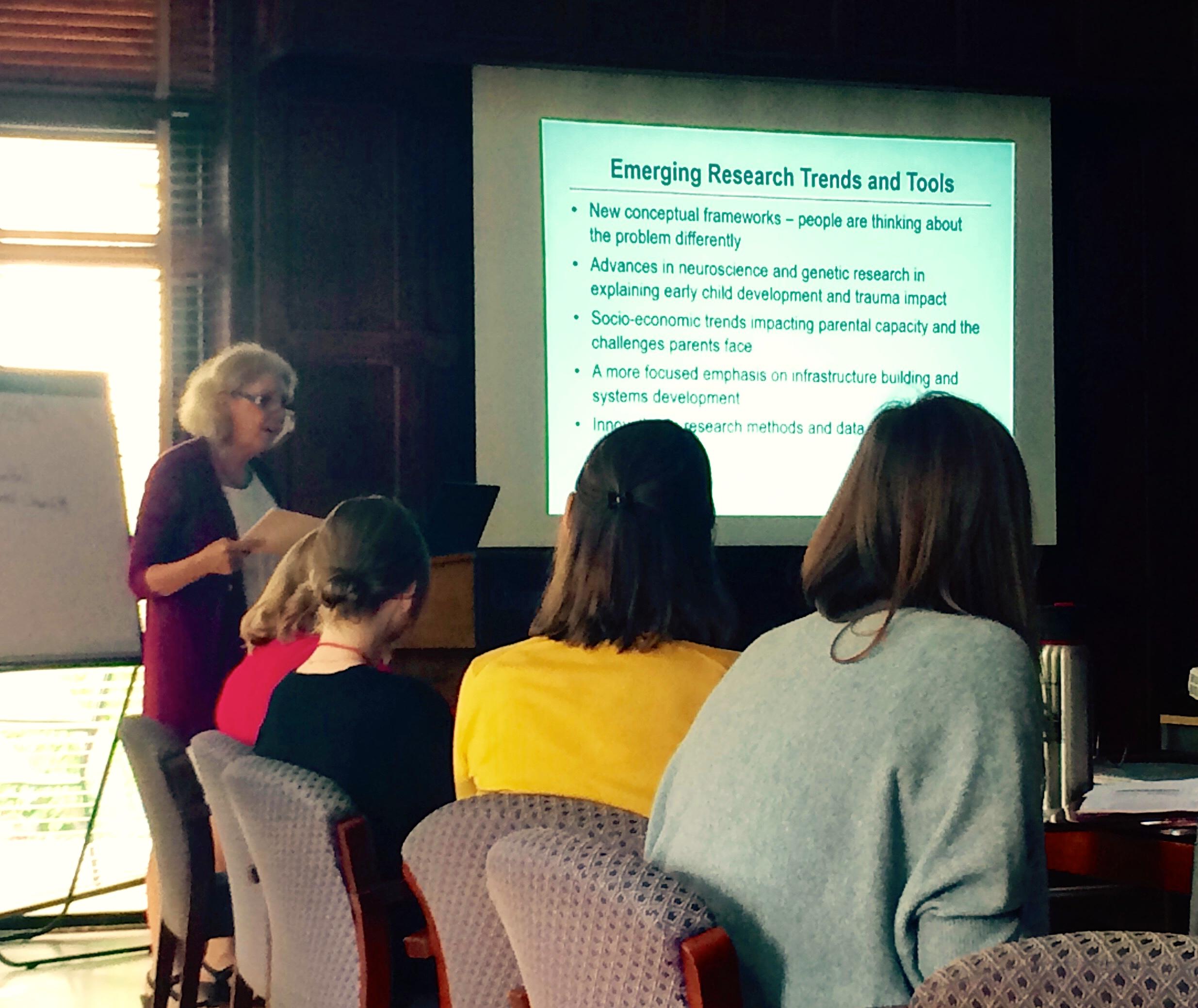 Dr. Deborah Daro, Fellowships Chair, presenting to Cohort Six Fellows.