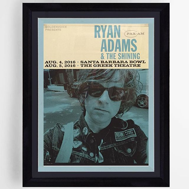Ryan Adams tour poster for the Greek Theatre! Double matted and framed. . . . . . . . . . #ryanadams #pictureframing #pictureframer #pictureframingla #musicposter #tourposter