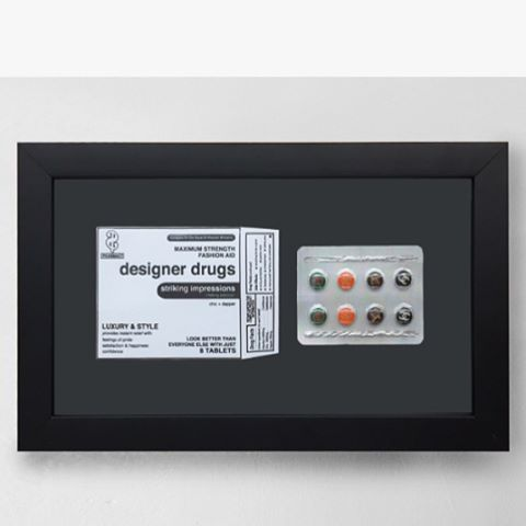 Awesome work by Daniel Cohen @thisisaddictive framed in our matte black shadow box frame. . . . . . . . . . . . #danielcohen #thisisaddictive #danielallencohen #designerdrugs #laart #laarrist #artla #art #contemporaryart #conceptualart #conceptualism