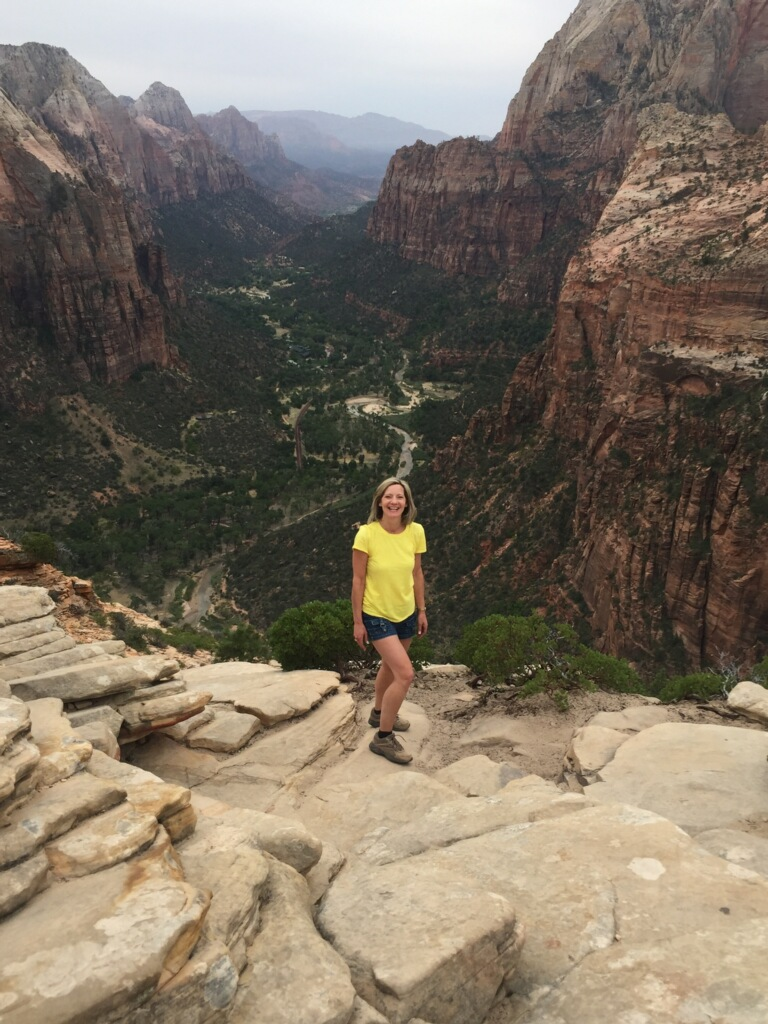 Mrs. Mulholland at the top of Angel's Landing. Hiked to by Chrissy, Laura and Kari.