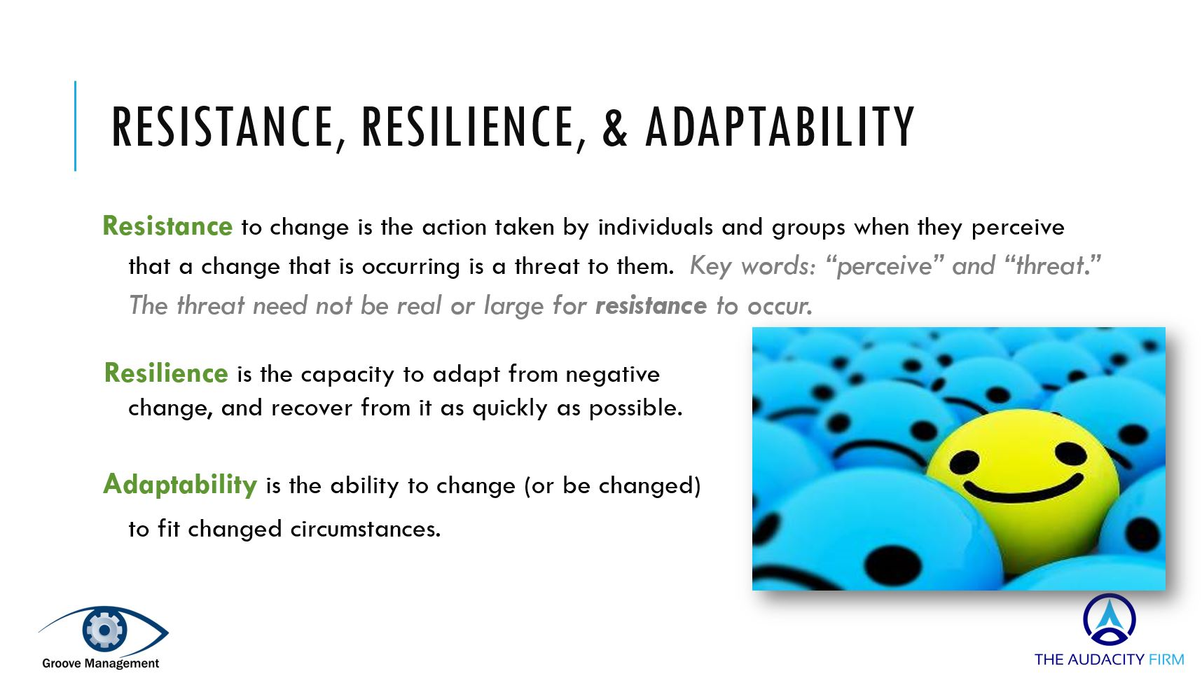 Resistance resilience and adaptability