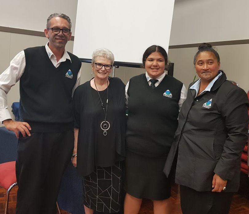 With Principal, Hirere Moana, Hohepa Hei, and Year 12 student from Te Wharekura o Maniapoto